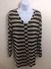 Cable & Gauge Shirt Womens size Large Black Tan Stripes V neck Top Blouse