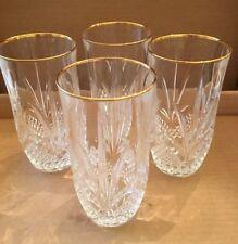 Lead Crystal Gold Rim Fan Glass Glassware Set 4 Waterford? Lismore?