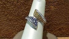 14k White Gold Cluster Ring with Genuine Blue & Yellow Sapphire& Diamond.