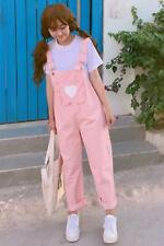 New pink heart ruffled cute kawaii overall suspender pants trousers pastel long