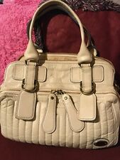 Authentic Chloe Handbag Beige Leather