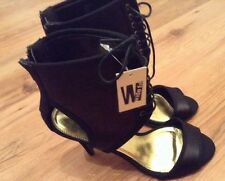 "BNWT "" Next "" Size 5 Wide Fit Black Sandals/Shoes Boots Peep Toe Satin, Heels 39"