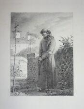 """Lithographie de H.VERNET, """"Le Recueillement"""", XIXème"""