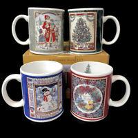 JC Penny Vintage Victorian Style Betty Whiteaker Mug Set of 4 1999 Santa