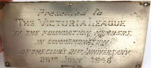 .RARE 1948 VICTORIA LEAGUE (COMMONWEALTH FRIENDSHIP) STERLING SILVER PLAQUE.