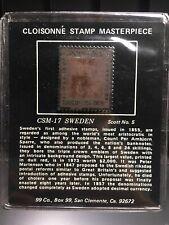 Cloisonne Stamp Masterpiece Csm-17 Sweden Scott No. 5 Bronze
