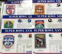 6 Willabee & Ward Super Bowl Commemorative Patch Cards 3 8 12 13 18 27