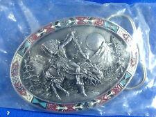 Great Spirit Indian Chief Belt Buckle w/ Enameled Border 1992 Bergamot