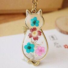 Caliente gato de flores secas naturales Vintage Bronce Cristal Colgante Collar Sweater Cadena
