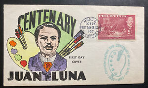 1957 Manila Philippines First Day Cover FDC Centenary Of Juan Luna