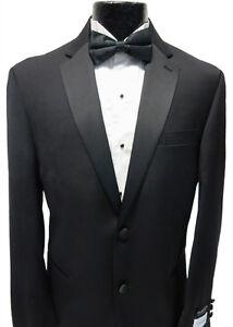 Black Calvin Klein Mens Fashion 2 Button Tuxedo Wool Jacket Tux Blazer Overstock