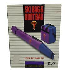 105 Degree Meridien Ski & Boot Bag Travel Set Navy with Purple Snow Travel New