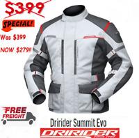DRIRIDER SUMMIT EVO Motorcycle Jacket NEW rrp$399 XL 3XL Grey Touring Adventure