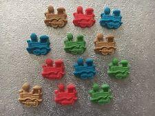 Edible fondant icing trains Multi Colours - cake topper x 12