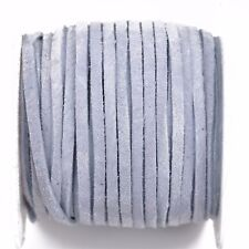 """25yd 1/8"""" Flat Suede Leather Lace, Light Blue, Realeather 3mm, Lth0028"""
