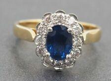 Diamond & Sapphire Wedding Engagement Womens Ring 18ct Yellow & White Gold