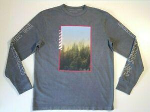 American Eagle Men's Long Sleeve Light Gray Graphic T-Shirt Size L