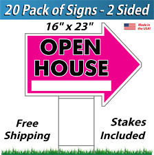 20x - OPEN HOUSE Arrow Shaped Signs & Stakes - Corrugated Plastic (20 Pk) Pink