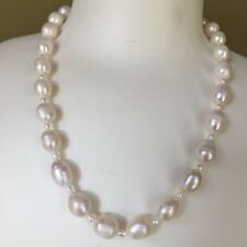 46CM Huge freshwater 10.5-13mm Natural white Baroque pearl necklace AB #02