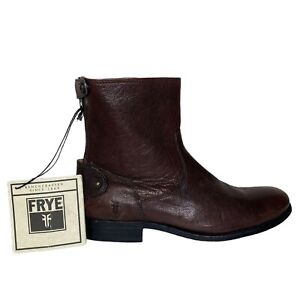 Frye NWT Snap Zip Pebbled Leather Boots Brown Men's Size 8.5