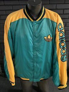 Vintage Adidas Jacket Green Yellow  Trefoil Logo Men's L