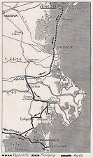 D3001 Itinerario da Venezia a Ferrara per il Delta del Po - Mappa - 1927 old map
