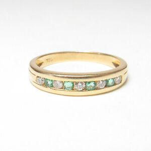 Estate 18K Yellow Gold Natural Green Emerald Diamond Band Style Ring 0.30 Cts