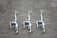 25pcs--Gymnastics Charms Silver Tone 2 Sided Gymnast charm pendants 30x11mm