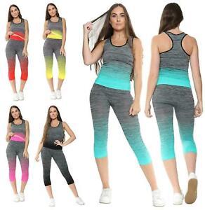 Women's Gym Wear Girls Fitness Workout Yoga Suit Vest & Legging Sport Top Set