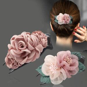 Women Spun Yarn Flower Duckbill Hair Claw Clip Headwear Barrettes Hairgrip AU
