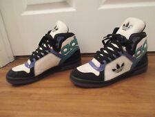 Used Worn Size 13 Adidas Ecstasy Mid Shoes White Black Turquoise Blue