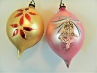 SET OF 2 PINK & GOLD COLORED GLASS CHRISTMAS ORNAMENTS,MADE IN POLAND,APPROX.4""