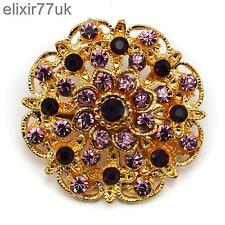 Diamante Crystal Wedding Party Pin Broach New Gold Flower Bouquet Brooch Purple