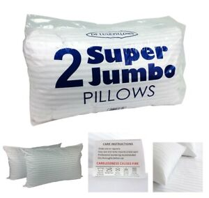 Jumbo Bed Pillows Satin Striped Pillows Hotel Quality Bounce Back Pack of 2