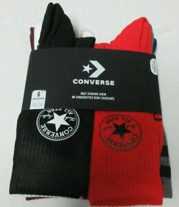 Converse  6 Pair Half Cushion Crew Men Sock size  6 - 12