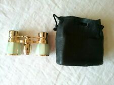 Vintage Bushnell Mother of Pearl Opera Glasses/Binoculars Green W/ Bag    B16