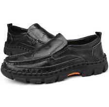 Mens Casual Genuine Leather  Shoes Platform Slip on Loafers Moccasins Sneakers