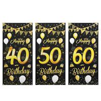 Happy 40/50/60th Birthday Sign Wall Hanging Birthday Banner Door Decoration