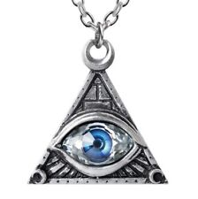 Blue All Seeing Eye of Providence Freemason Pyramid Necklace Alchemy Gothic P827