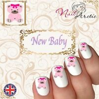 New Baby Girl Bear Baby Shower Nail Art Sticker Water Decals Transfer Stickers
