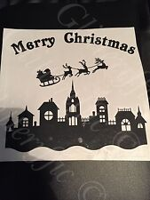 Merry Christmas Town Santa & Reindeer Silhouette DECAL STICKER FOR BOXFRAME