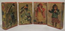 4 Old Victorian Lithograph Childs ABC Picture Blocks Birds Children & Flowers