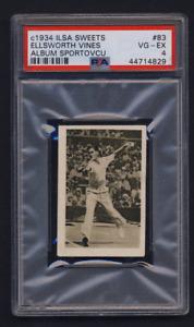 "1934 Ilsa sweets tennis card #83 Henry ""Elli"" Ellsworth Vines USA PSA 4 VG-EX"