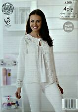 KNITTING PATTERN Ladies Long Sleeve Lace Front Cardigan Cotton 4ply 4500