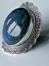 STERLING SILVER HANDCRAFTED 50mm.RING with LABRADORITECABOCHON STONE £85.95nwt
