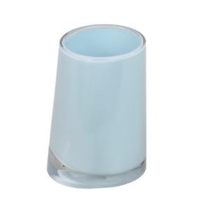 Clear Base Plastic Bathroom Tumbler Toothbrush Holder Soft Blue Pastel Accessory