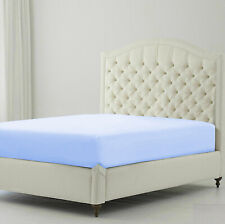 Tremendous 1 Pc Fitted Sheet 1000 Tc Egyptian Cotton Sky Blue Solid Queen Size