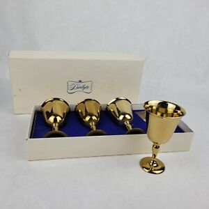 """Vintage Dirilyte Brass Sherry Cordial Goblets 3.75"""" Tall each Set of 4 Org Box"""