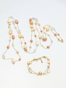 Premier Designs Gold Tone Peach Orange Faux Pearl Glass Necklace Bracelet Set