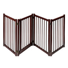 "81"" Wooden Pet Dog Gate with Door Adjustable Freestanding Fence Folding 4 Panel"